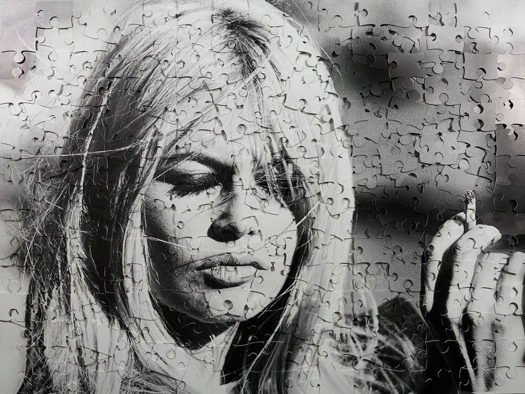 brigitte bardot smoking puzzle series cecile plaisance french artist clementine de forton gallery