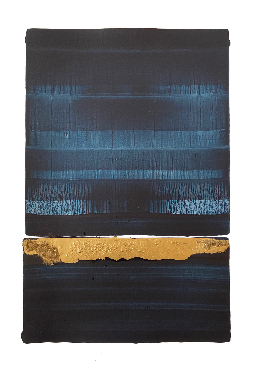 Original Painting Pigment Ink and Gold Powder Nicolas Lefeuvre - Clementine de Forton Gallery